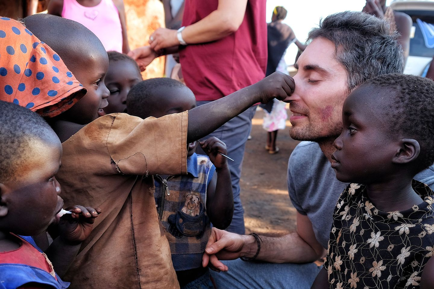 Uganda: Playing with children.